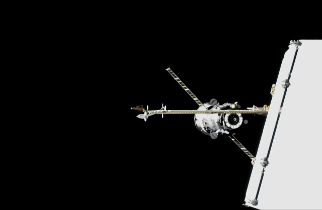 The Progress MS-10 cargo spacecraft approaching the International Space Station (Image NASA TV)
