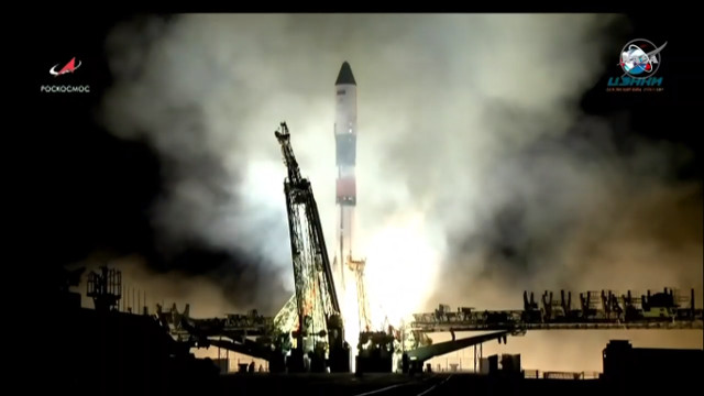 The Progress MS-10 cargo spacecraft blasting off atop a Soyuz FG rocket (Image NASA TV)