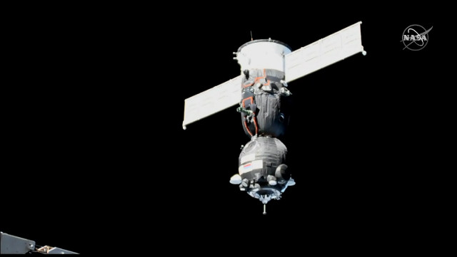 The Soyuz MS-11 spacecraft approaching the International Space Station (Image NASA TV)