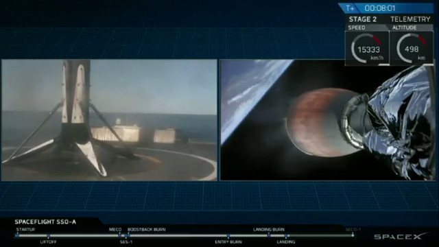 The Falcon 9 rocket's first stage after landing while the second stage continues its for its SSO-A SmallSat Express mission (Image courtesy SpaceX)