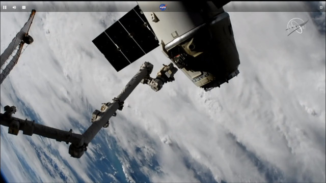 The Dragon cargo spacecraft departing the International Space Station to end its CRS-16 mission (Image NASA TV)