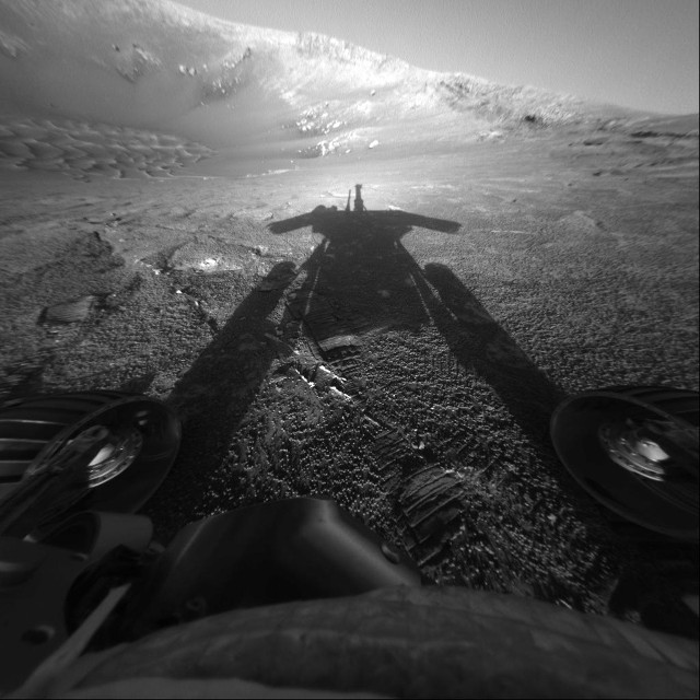 The Mars Exploration Rover Opportunity's shadow (Image NASA/JPL-Caltech)