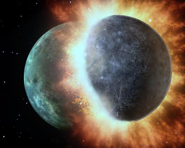 Artist's concept of protoplanet impact (Image Nasa/JPL-Caltech modified)