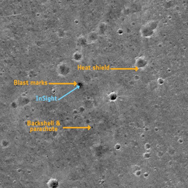 The InSight lander seen by the TGO (Image ESA/Roscosmos/CaSSIS, CC BY-SA 3.0 IGO)