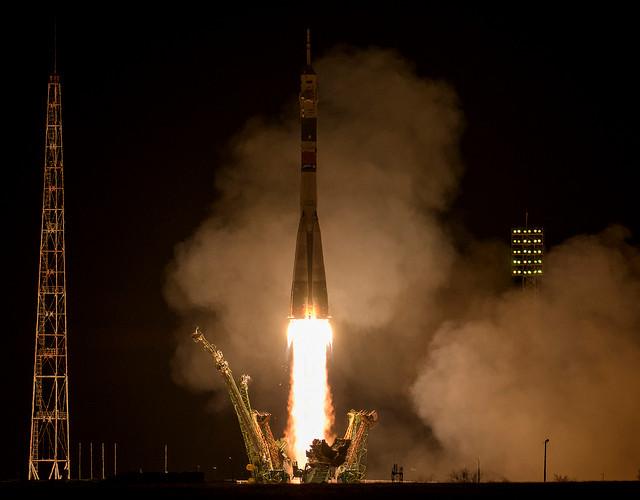 The Soyuz MS-12 spacecraft blasting off atop a Soyuz rocket (Photo NASA/Bill Ingalls)