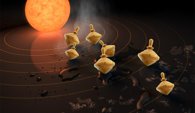 Artist's concept of star system with planets as spinning tops (Image NASA/JPL-Caltech, Sarah Millholland)