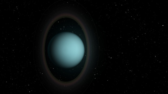 Artist's concept of Uranus and its rings (Image NRAO/AUI/NSF; S. Dagnello)