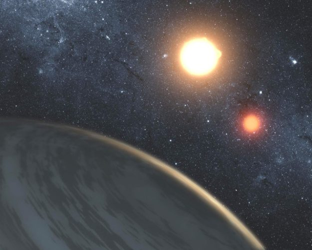 Artistic representation of a gaseous planet in a binary system (Image NASA/JPL-Caltech/T. Pyle)