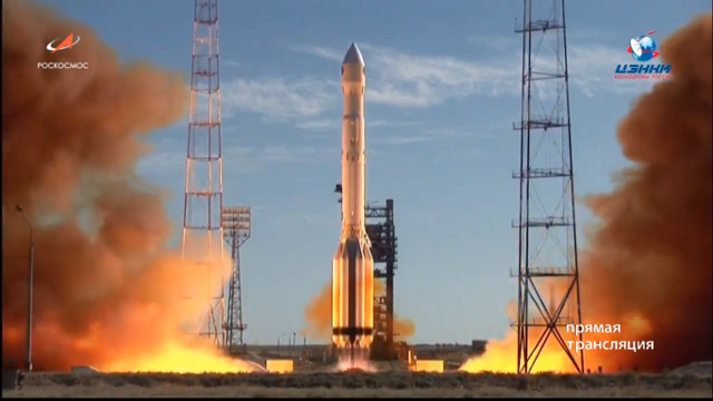 The Spektr-RG space telescope blasting off atop a Proton rocket (Image courtesy Roscosmos)