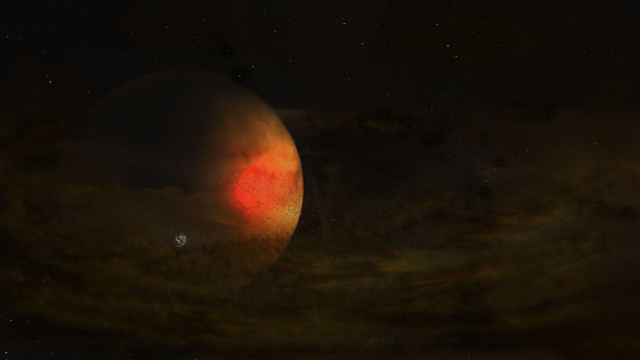 Artist impression of the exoplanet PDS 70 c and its circumplanetary disk (Image NRAO/AUI/NSF, S. Dagnello)
