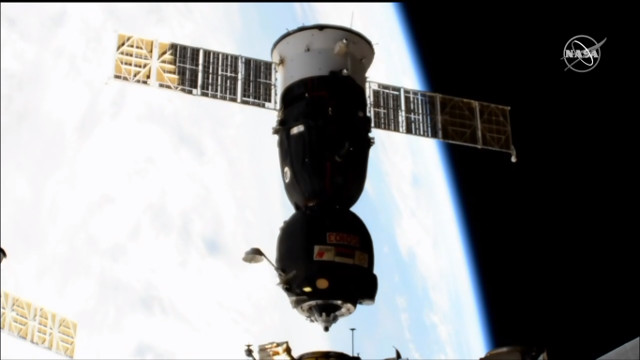 The Soyuz MS-12 spacecraft departing the International Space Station (Image NASA TV)