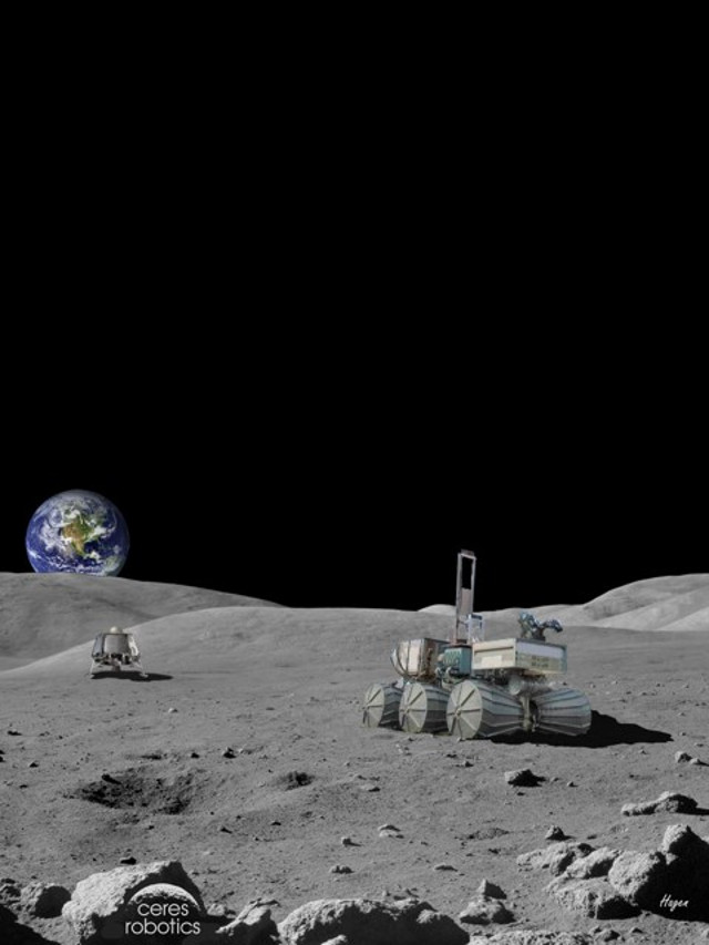 Artist's concept of lander / rover on the Moon (Image courtesy Ceres Robotics)