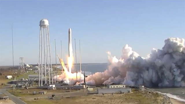 Northrop Grumman's Cygnus cargo spacecraft blasting off atop an Antares rocket (Image NASA TV)