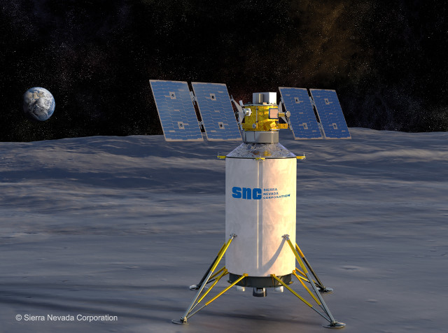 Artist's concept of lander on the Moon (Image courtesy Sierra Nevada Corporation)