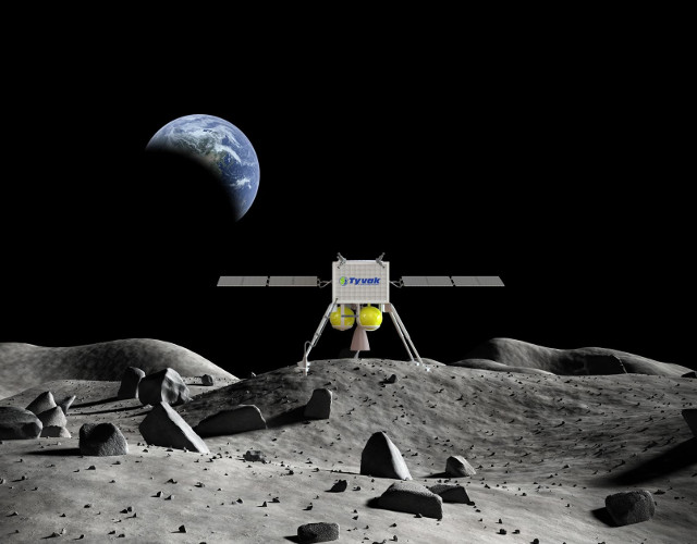 Artist's concept of lander on the Moon (Image courtesy Tyvak Nano-Satellite Systems Inc.)