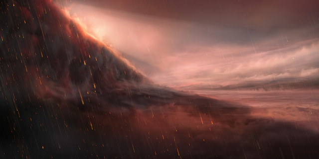 Artist's concept of iron rain on the exoplanet WASP-76b (Image ESO/M. Kornmesser)