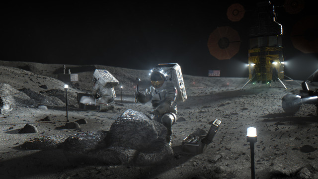 Artistic concept of astronaut on the Moon during a mission of the Artemis program
