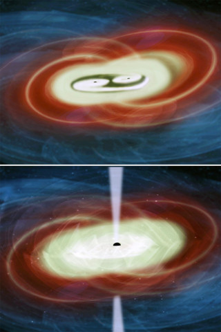 Artist's concept of two supermassive black holes in a galaxy