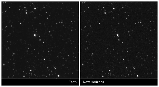 Proxima Centauri seen from Earth and the New Horizons space probe
