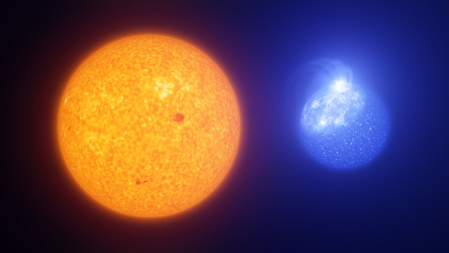 Artistic comparison of the Sun with an extreme horizontal branch star with a giant star spot
