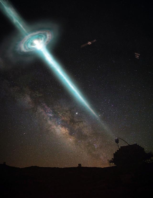Artist's concept of gamma-ray burst (Image courtesy Superbossa.com e Alice Donini)