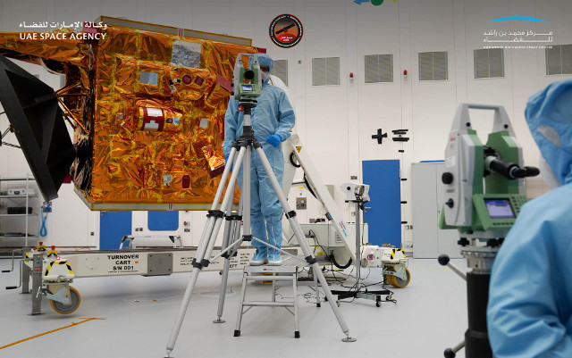 The Hope space probe being prepared (Photo courtesy Mohammed bin Rashid Space Centre)