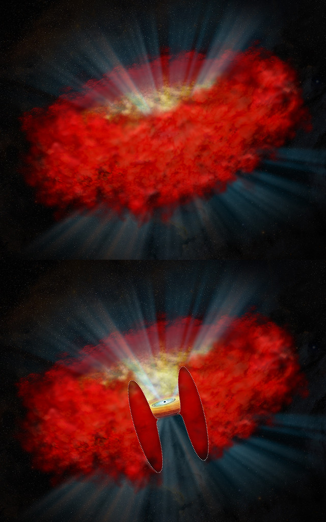 An artistic representation of the cocoon that surrounds and obscures a supermassive black hole
