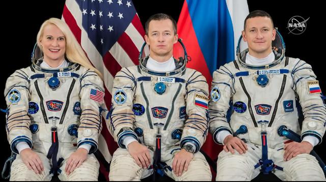 Kate Rubins, Sergey Ryzhikov and Sergey Kud-Sverchkov (Image NASA TV)