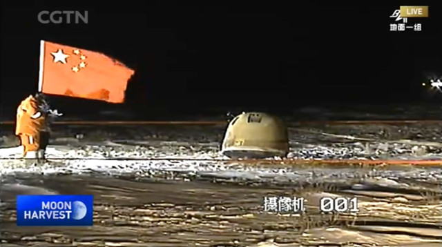 The Chang'e 5 mission's capsule with the Moon samples (Image courtesy CGTN)