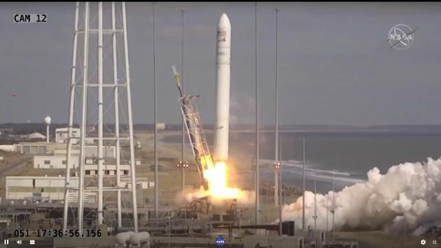 The Cygnus Katherine Johnson cargo spacecraft blasting off atop an Antares rocket (Image NASA TV)