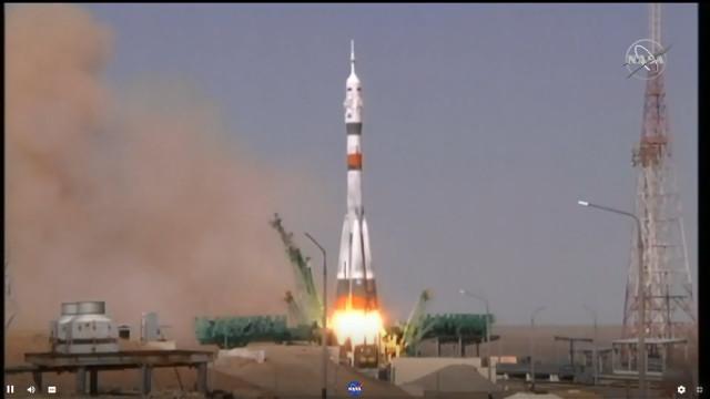 The Soyuz MS-18 spacecraft blasting off atop a Soyuz rocket (Image NASA TV)