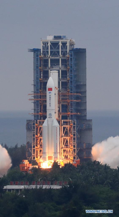 The Tianhe module blasting off atop a Long March 5B Y2 rocket (Photo courtesy Xinhua/Zhang Liyun)