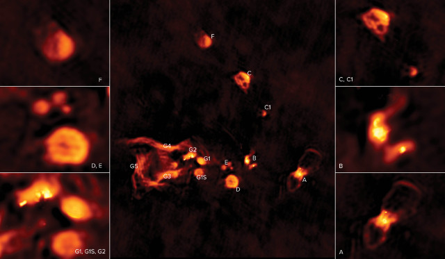 The W49A molecular cloud as seen by the VLA radio telescope with closeups of regions where hydrogen gas is ionized by ultraviolet radiation from young stars