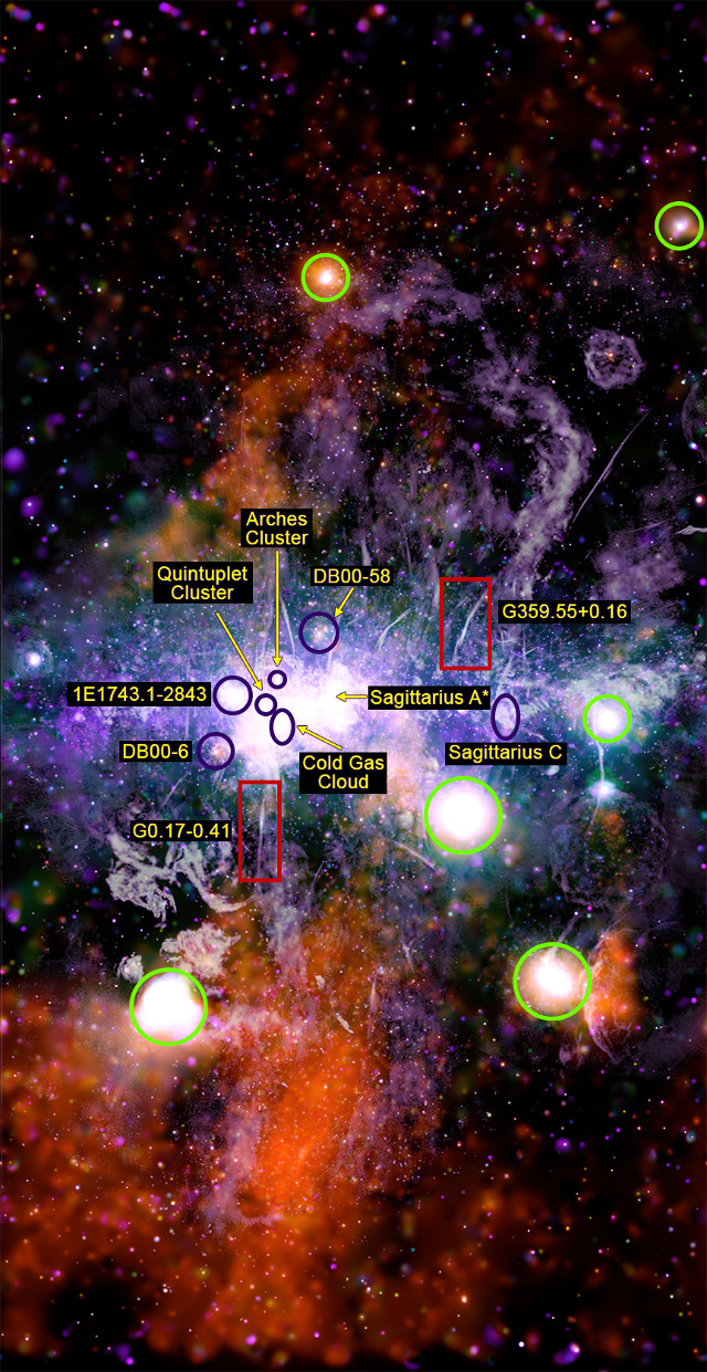 Structures at the center of the Milky Way seen by Chandra and MeerKAT