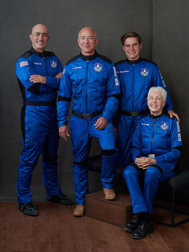 Jeff Bezos, Mark Bezos, Oliver Daemen and Wally Funk (Photo courtesy Blue Origin)