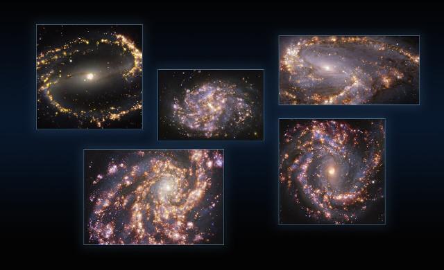The galaxies NGC 1300, and NGC 1087, NGC 3627 (top), NGC 4254 and NGC 4303 (bottom)