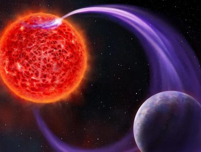 Artist's concept of red dwarf magnetically interacting with a planet (Image courtesy Danielle Futselaar (artsource.nl))