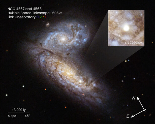The galaxies NGC 4567 (top) and NGC 4568 (bottom) with supernova SN 2020fqv in the inset