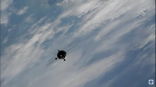 The Soyuz MS-19 spacecraft approaching the International Space Station (Image NASA TV)