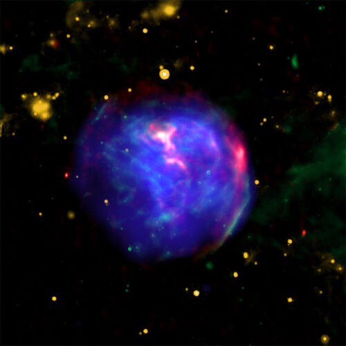 Composite image of G344.7-0.1 (X-ray: NASA/CXC/Tokyo Univ. of Science/K. Fukushima, et al.; IR: NASA/JPL/Spitzer; Radio: CSIRO/ATNF/ATCA)